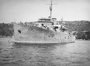 HMAS Broome (J191), named for the town of Broome, Western Australia, was one of 60 Bathurst-class corvettes constructed during World War II and one of 20 built for the Admiralty but manned by personnel of and commissioned into the Royal Australian Navy(RAN).