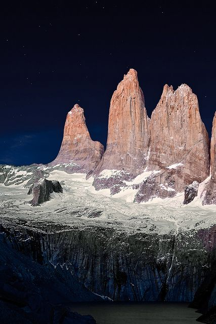 Twilight shot of Torres del Paine, Chile++++