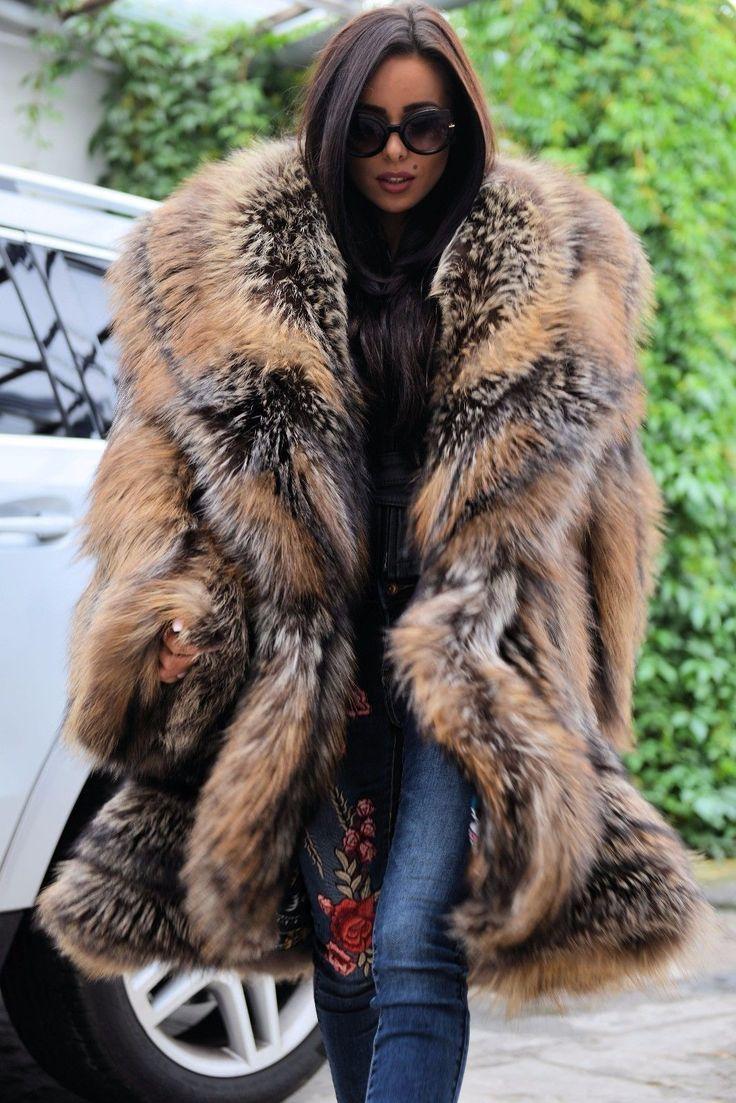 ROYAL FOX FUR SWINGER COAT CLASS CHINCHILLA SABLE MINK SILVER LONG JACKET PONCHO | eBay