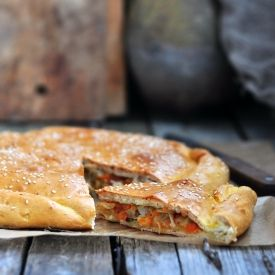 Traditional Russian cabbage pie, tasty and easy. (in Russian)