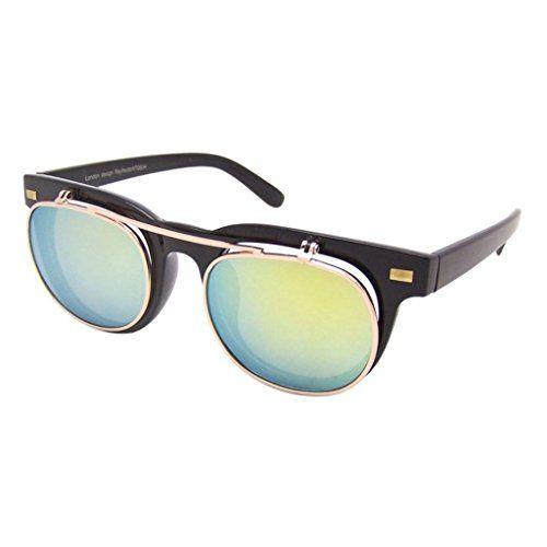 Retro Sonnenbrille 50er Jahre Vintage Flip up Glasses Damen Herren RF197 (GELB-GRÜN VERSPIEGELT)