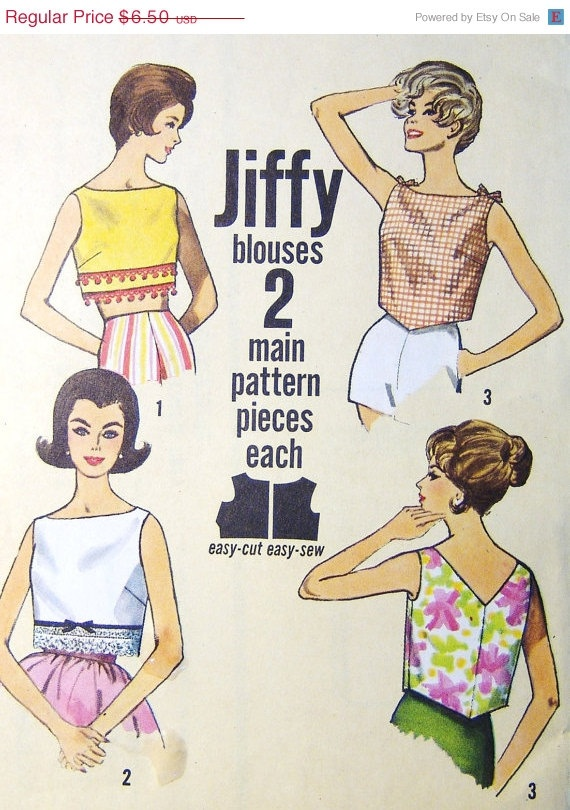 Easy Cropped Summer Tops Sewing Pattern by VintageCorePatterns, $6.18