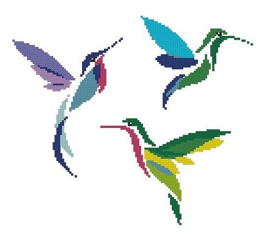 Colibrí/aves/animales contados puntada patrón por crossstitchgarden