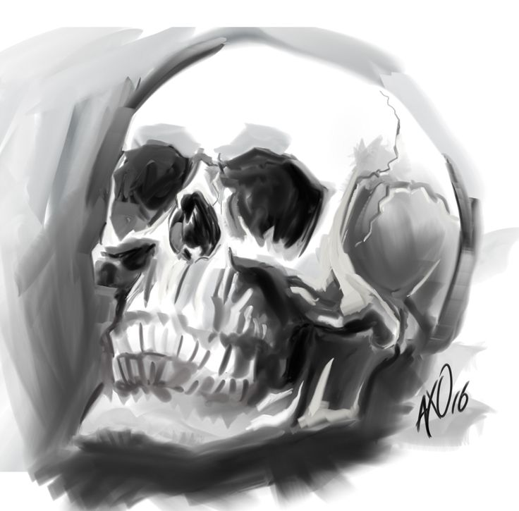 Probando pinceles  #skull #craneo #death