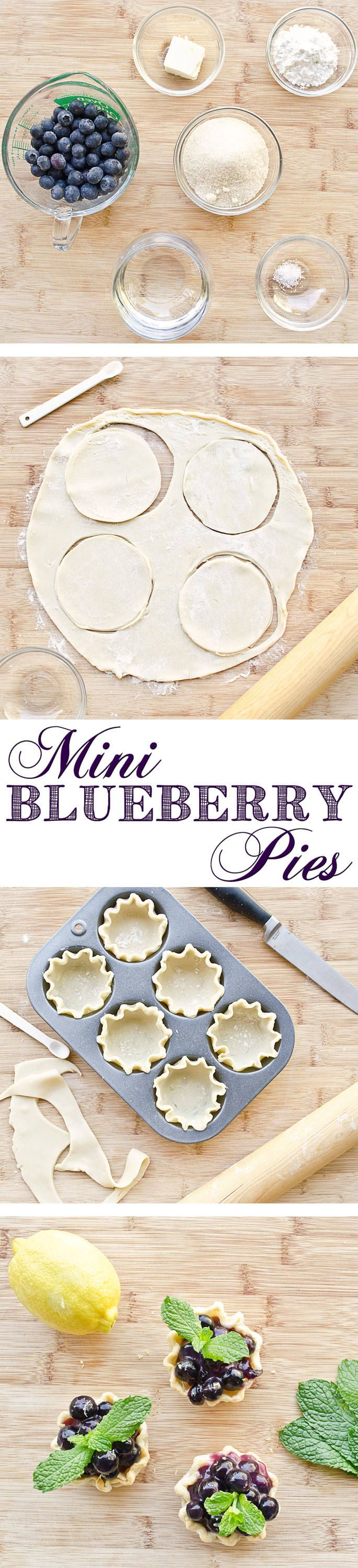 Easy to Make Mini Blueberry Pies. I love this easy, quick recipe to make sweet little blueberry pies.