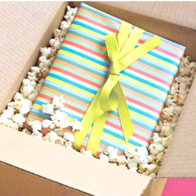 Why use expensive packing supplies? Use air-popped (PLAIN) popcorn to ship fragile gifts.
