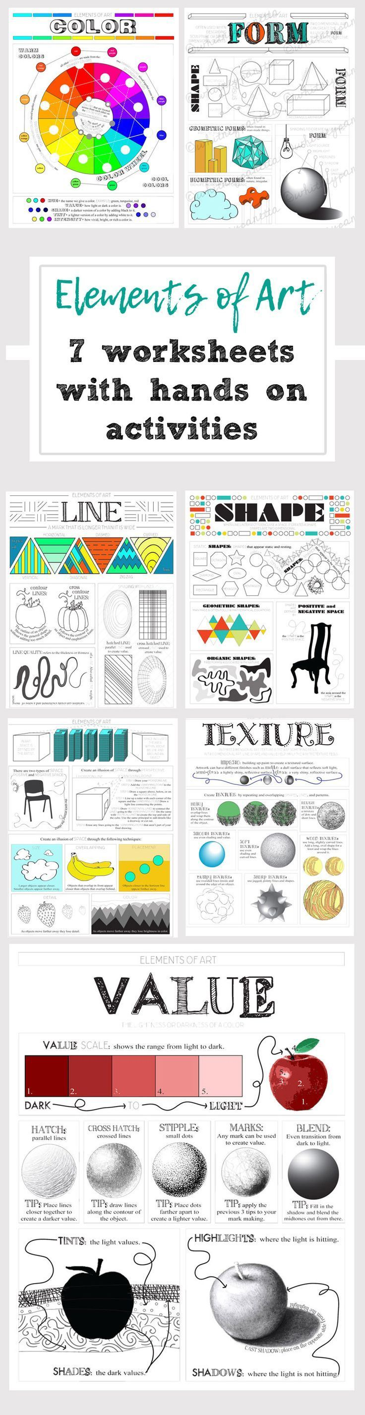 Teach your students about the elements of art through 7 modern worksheets with in-depth explanations and hands on activities on the back.