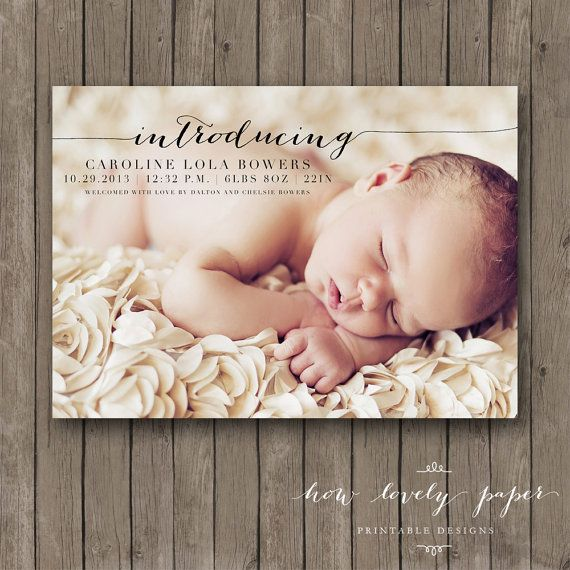 Printable+Birth+Announcement++Photo+Card+Baby+by+HowLovelyPaper,+$10.00
