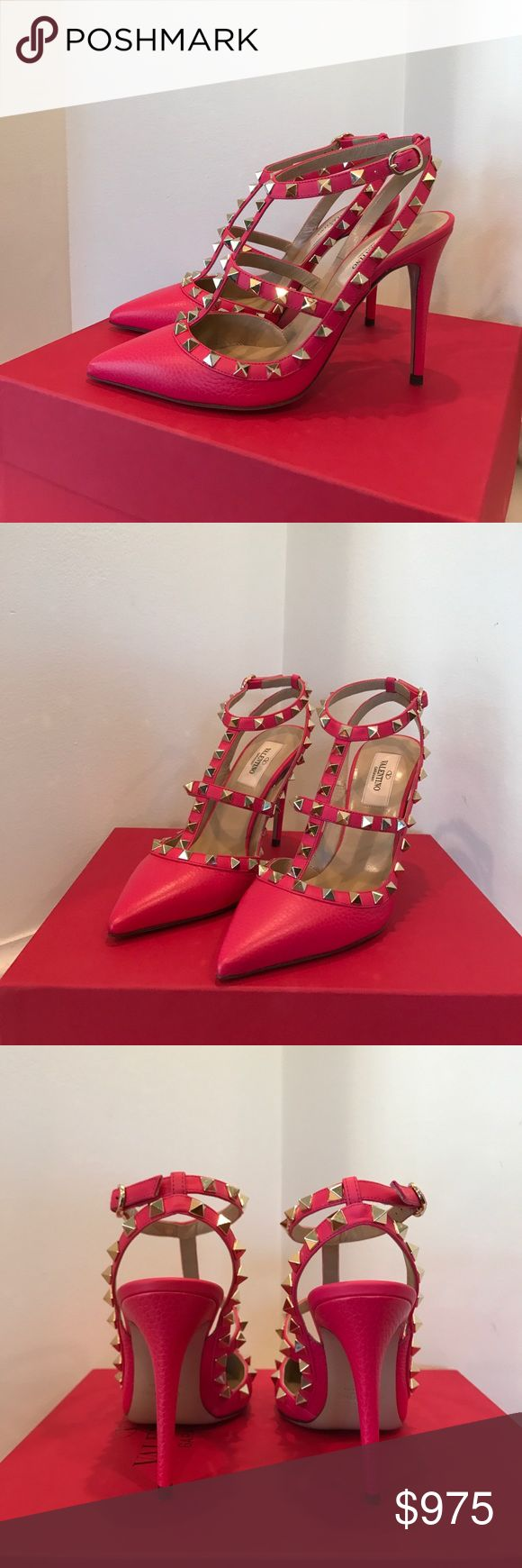 • Valentino • NWT Pink Rockstud T-Strap Pumps 7.5 - Valentino  - Authentic  - New in Box - Pink Rockstud Pumps - Silver Studs - Size 37 1/2  - Comes with extra Studs, heel tabs, original box, dust Bag and authenticity booklet. - Purchased for $1,075 without tax  - Price is Firm Valentino Shoes Heels