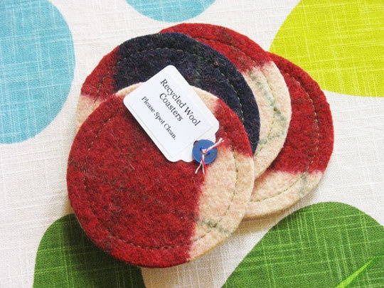 upcycled felted wool coasters