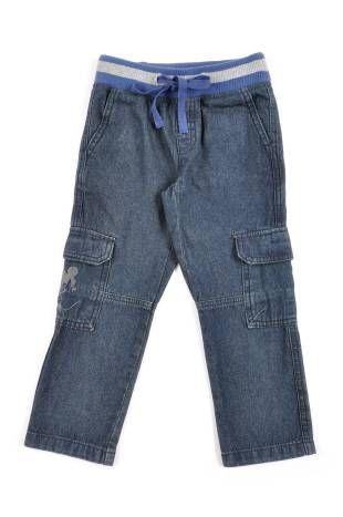 Pantalon tipo jeans para niño, en color azul oscuro. Cintura elastizada.