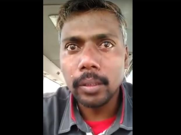 An Indian migrant worker who made an emotional plea on social media about his working conditions in Saudia Arabia has been jailed, according to activists.    Abdul Sattar Makandar, a truck driver, made a video which shows him crying in desperation about hissituation.
