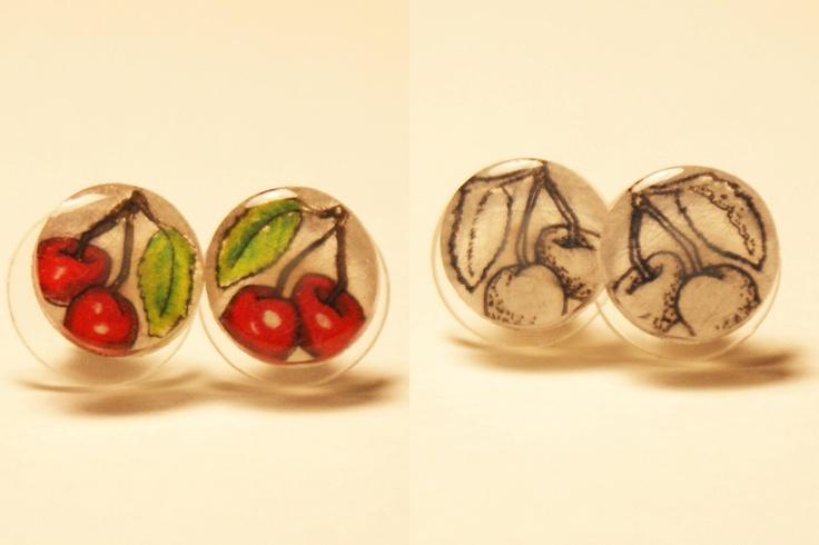 Small Cherries Pair of Stud Earrings. $10.00, via Etsy.