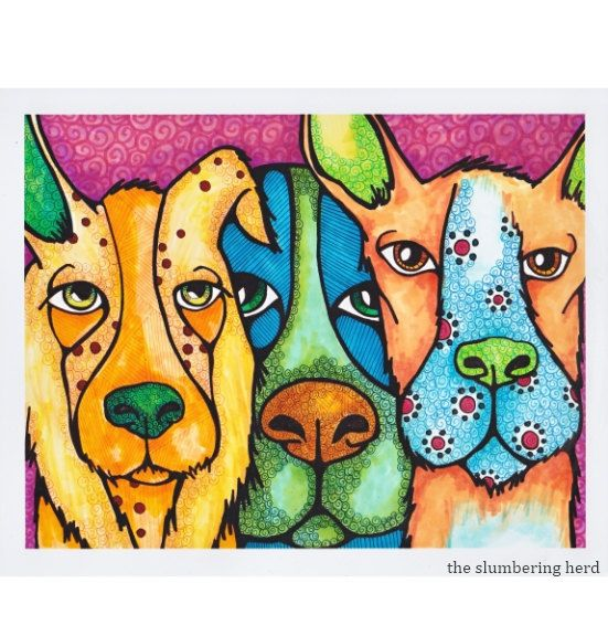 Goofy Dog Art Print Whimsical Beasts from by TheSlumberingHerd, $14.00 #etsysns #rt