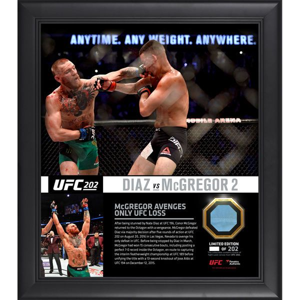 """Conor McGregor Ultimate Fighting Championship Fanatics Authentic Framed 15"""" x 17"""" UFC 202 Win Over Nate Diaz Collage with a Piece of Canvas From UFC 202 - $89.99"""