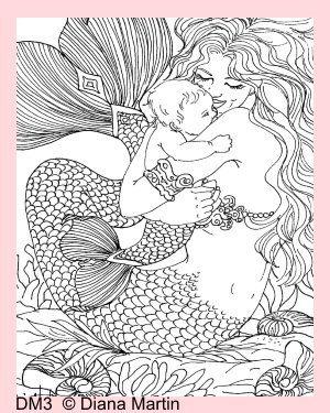 Mermaid Kisses Fabric Coloring Block Merboy by MermaidFabricBlocks