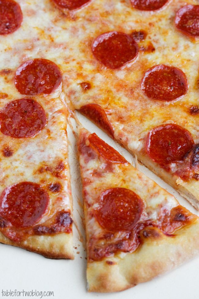 Pizzeria Style Pepperoni Pizza via tablefortwoblog.com