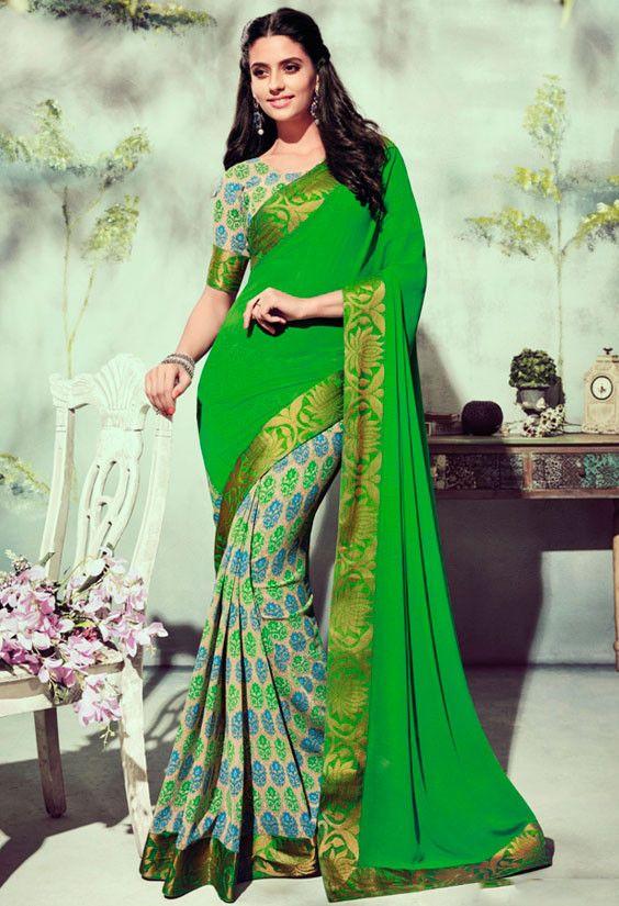 Beige and Parrot Green Printed Saree - Sarees - Women