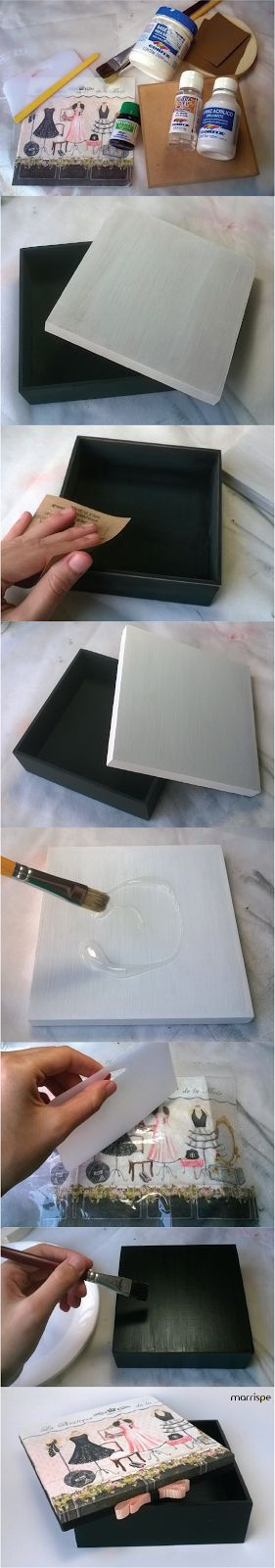 Tutorial de caixa em mdf com guardanapo #tutorial #artesanato #decor #pap #diy #passoapasso #decoração #organização #façavocemesmo #mdf #madeira #caixa #artesanal #presente #marrispe
