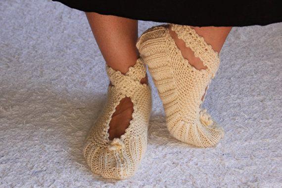Beige Pretty Ballerina Slippers by aykelila on Etsy, $25.00