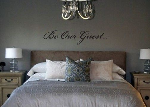 Be Our Guest removable vinyl wall art (instead of wooden letters) - basement spare bedroom