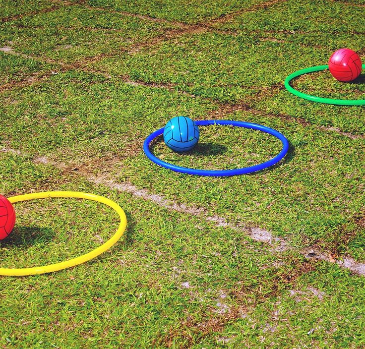 Fun outdoor games: Lawn basketball  Whether the hoop is high or low, getting balls inside them can takes concentration, skill, and a lot of laughs. Each ring colour is a different distance from where the players stand, and vary in points. Added challenge: the balls have to bounce a certain number of times. Form teams and get some playful rivalry going!