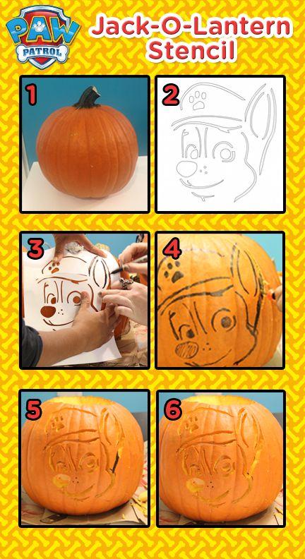 Create a PAW Patrol Halloween Jack-O-Lantern with this easy Nick Jr. stencil!