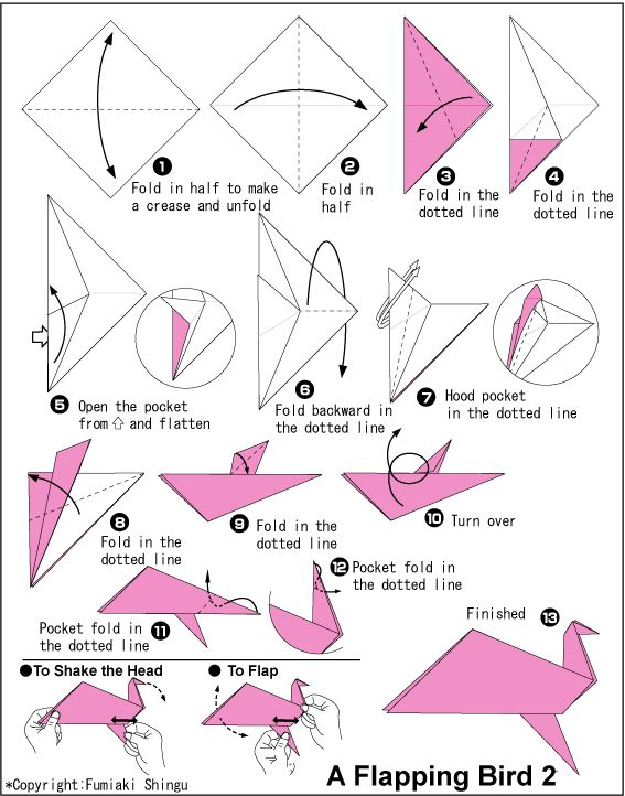 Flapping swan origami tutorial origami handmade for How to make origami goose