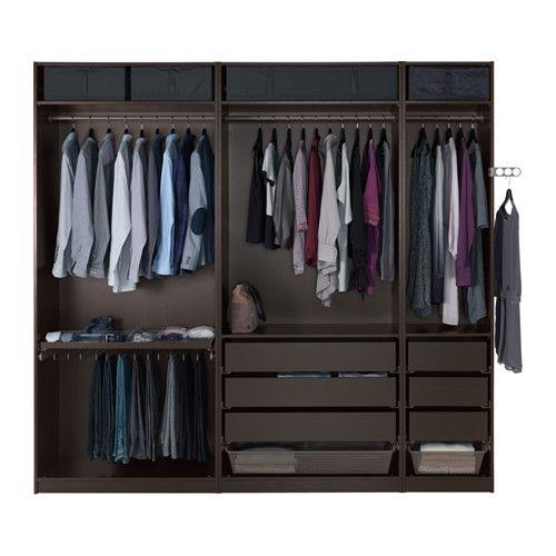 PAX Wardrobe, black-brown, Undredal black black-brown Undredal black soft closing hinge - 98 3/8x23 5/8x93 1/8