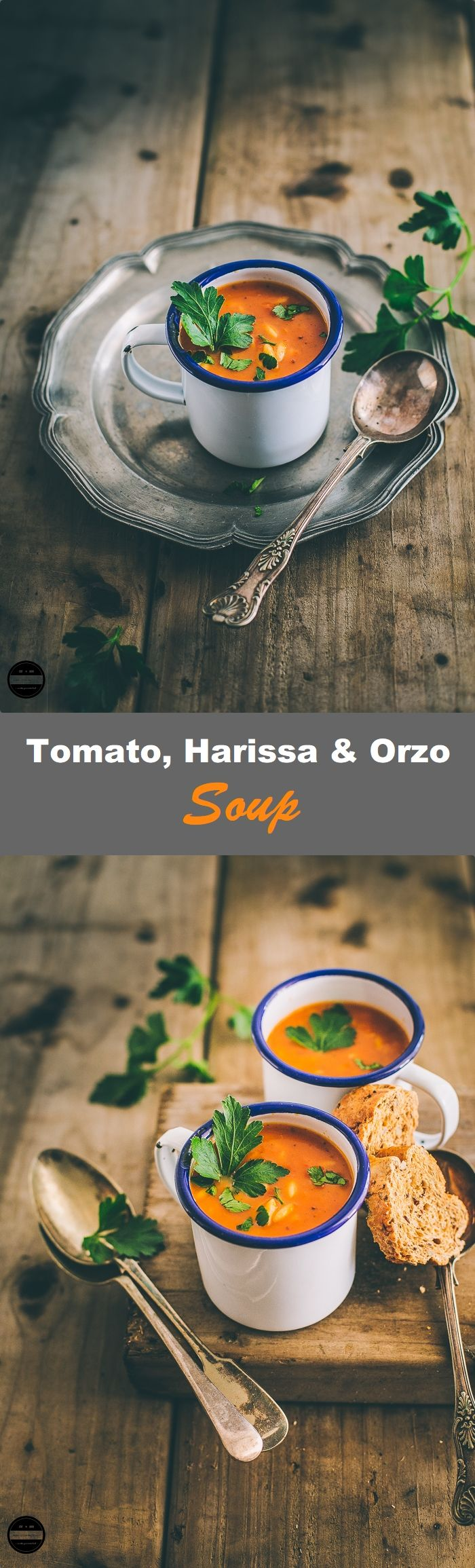 Vegan Tomato, Harissa and Orzo Soup