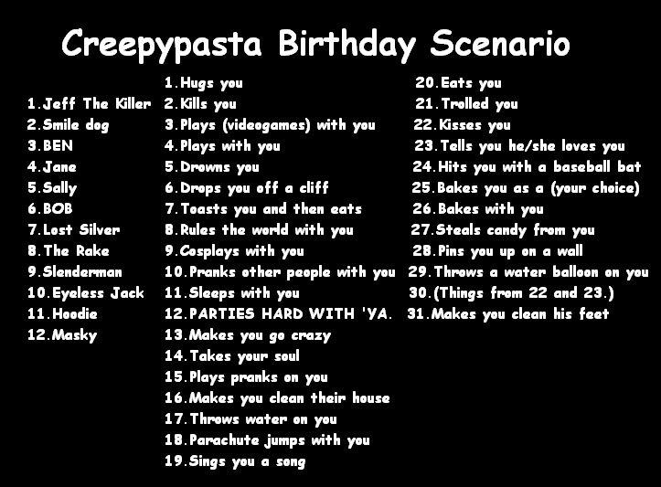 Gallery For gt Creepypasta Birthday Scenario