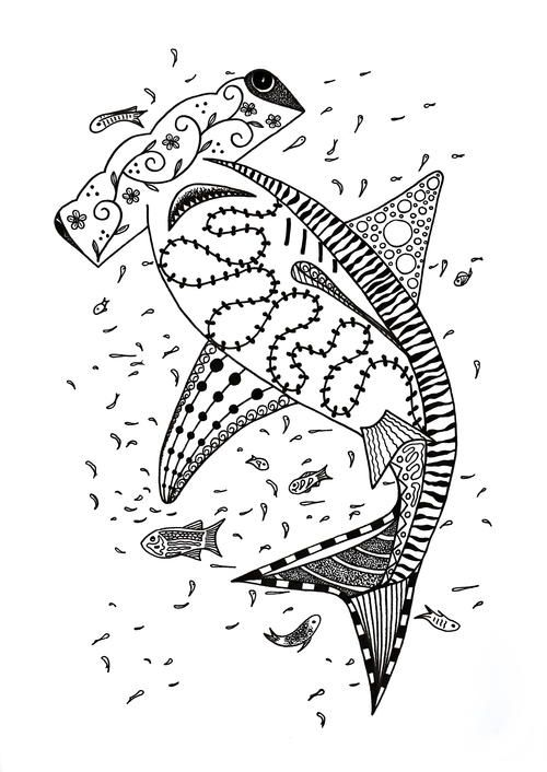 Hammerhead Shark Coloring Page Doodles Coloring Pages Adult