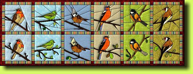 6 Bird paper pieced templates