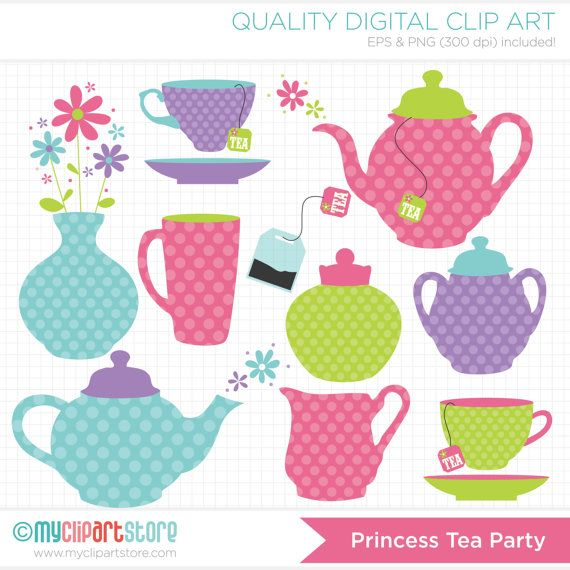 Princess Tea Party / Tea Set Clip Art / Digital Clipart - Instant Download