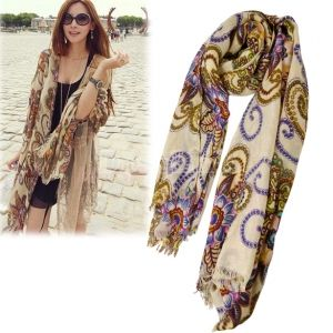 Women's Fashion Exotic Large SizeFlower Print Scarf Shawls