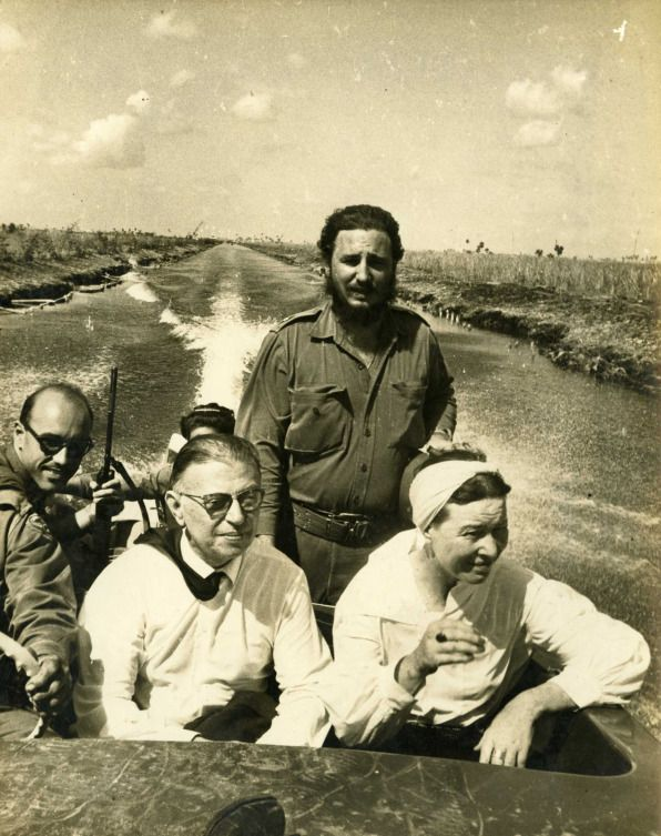 Simone de Beauvoir and Jean-Paul Sartre with Fidel Castro during their visit to Cuba in 1960.