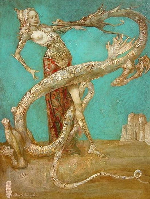 """In Slavic mythology, the word """"zmey"""" , is used to describe a dragon,  the masculine form of the Slavic word for """"snake"""", which are normally feminine. In Romania, there is a similar figure, derived from the Slavic dragon and named zmeu. A zmey is generally an evil, four-legged beast with few, if any, redeeming qualities. Zmeys are intelligent, but not greatly so, often demanding tribute from villages or small towns in the form of maidens (for food), or gold."""