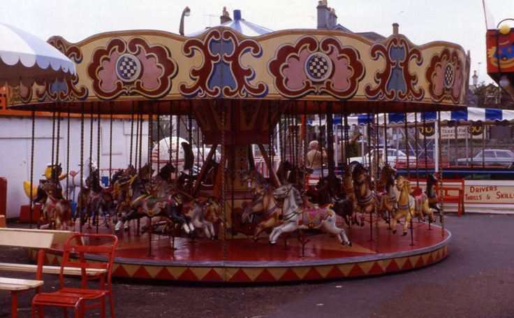 Colour print  Juvenile gallopers ride.  Ryde, Isle of Wight 1982
