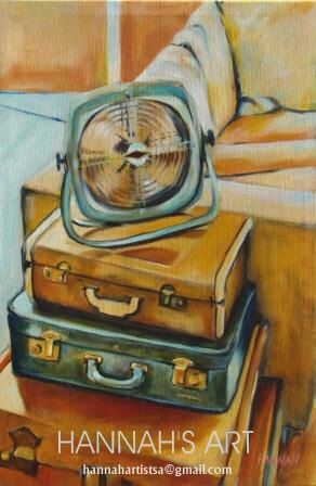 Artist: HANNAH, Suitcases and old fan, Oil on canvas, 400 x 600, Price on request.