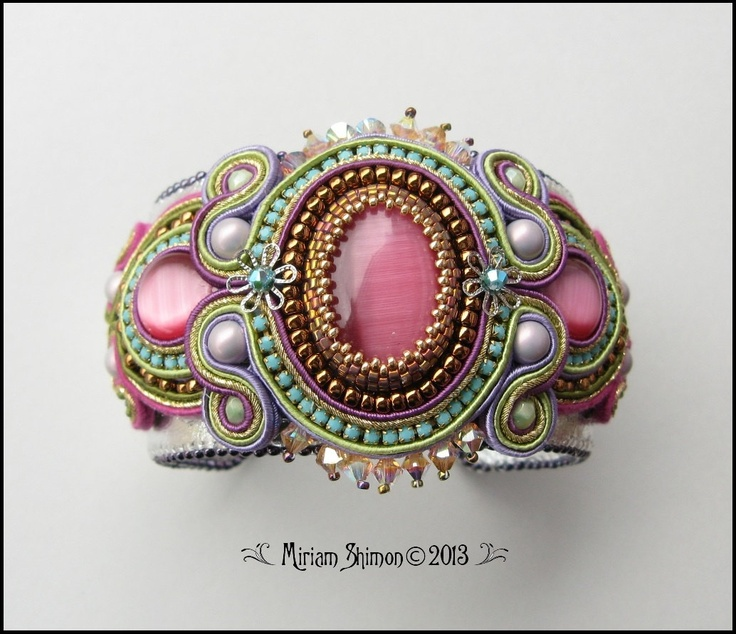 Soutache bracelet in pink turquoise green and gold by MiriamShimon, $125.00