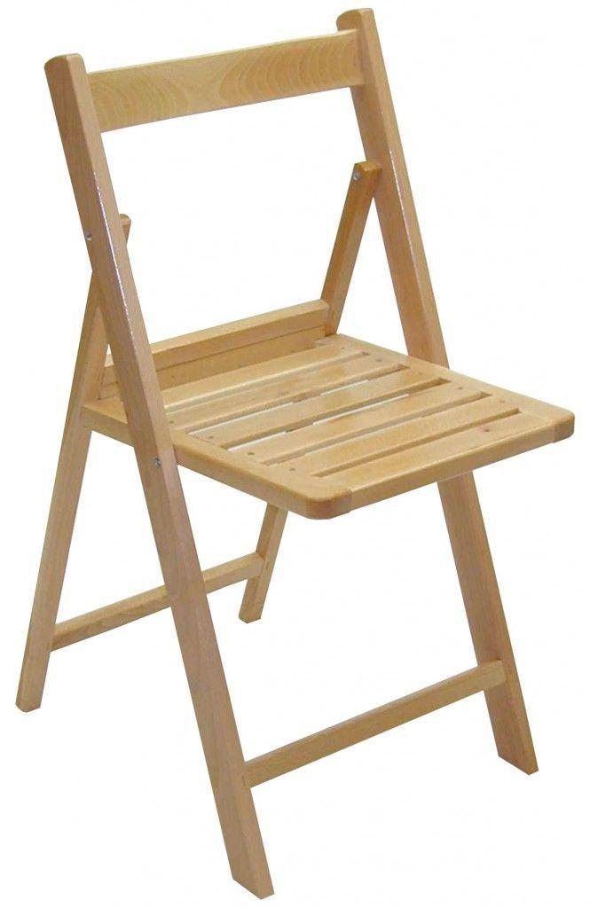 Una silla plegable fabricada en madera de haya, robusta pero ligera, se plega, transporta y almacena facil, apta para su uso en exteriores e interiores.