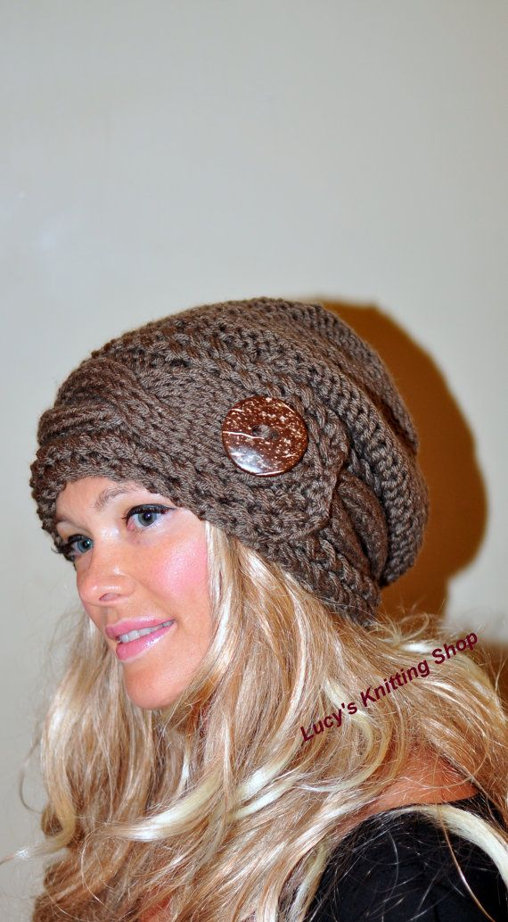 Slouchy Hat Slouch Beanie Cable Button Hat Hand Knit - love this