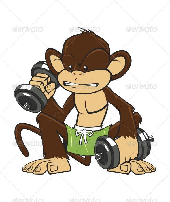 Monkey Fitness Animals Characters Vector Graphics Design Illustration Design Vector Design