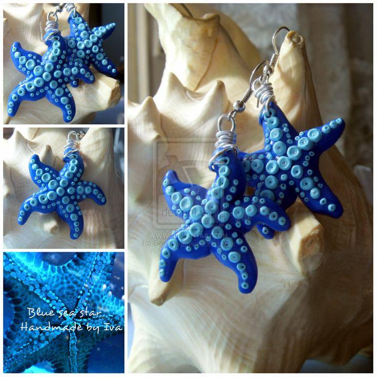 Blue sea star Polymer clay by SweetIva.deviantart.com on @deviantART