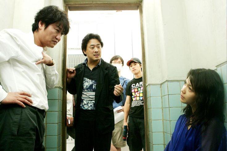 "kim ok-bin 김옥빈 on set | Chan-wook Park, Song Kang-ho and Kim Ok-bin on the set of "" 박쥐"" (""Thirst"")"