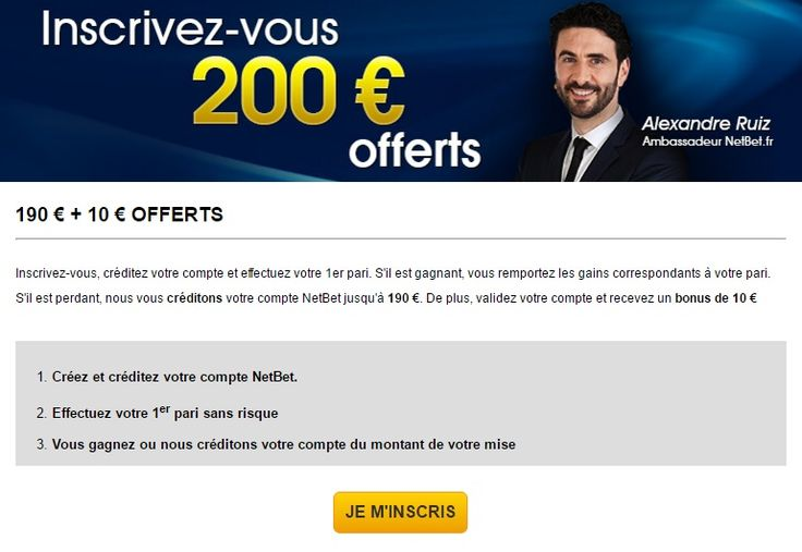 Bonus de 200€ offerts chez Netbet.  > http://wallabet.fr/bookmakers/netbetsport/bonus-netbet/