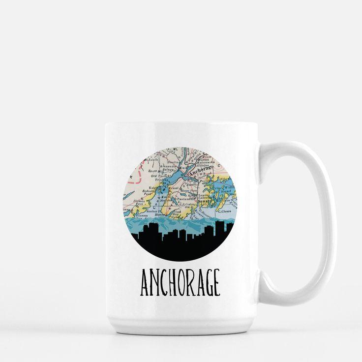 Alaska Major Cities Map%0A Anchorage Skyline Map Coffee Mug