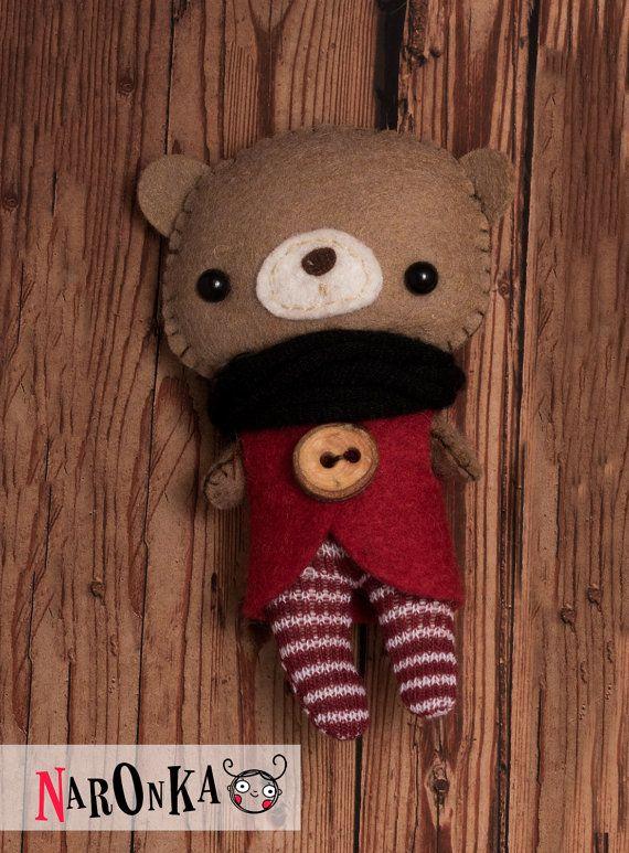 Felt bear  stuffed bear  toy bear  teddy bear by naronka on Etsy #feltbear #etsysellers #bear #waldorf #naturaltoy