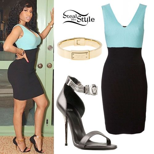 Nicki Minaj: Blue & Black Colorblock Dress
