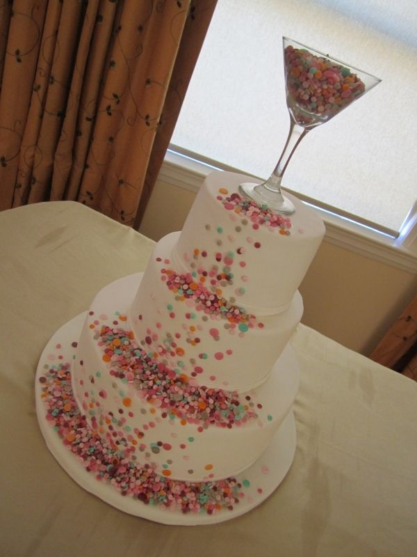 Confetti Cake.. love this! - I'll be making this for your bachelorette party....with zebra striped cake.
